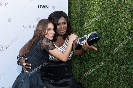 """Desiree Ross, left, and Deborah Joy Winans arrive at the season one premiere of """"Greenleaf"""" at The Lot, in West Hollywood, Calif"""