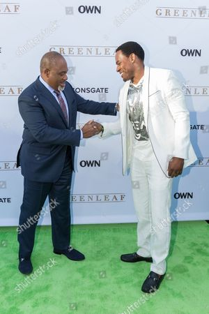 """Gregalan Williams, left, and Lamman Rycker arrive at the season one premiere of """"Greenleaf"""" at The Lot, in West Hollywood, Calif"""