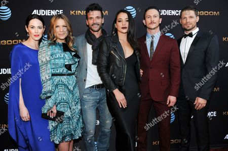 "Joanna Going, from left, Kiele Sanchez, Frank Grillo, Natalie Martinez, Jonathan Tucker and Matt Lauria attend the LA Premiere of Season Two ""Kingdom"" held at Harmony Gold, in Los Angeles"