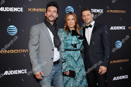 """Frank Grillo, from left, Kiele Sanchez and Matt Lauria attend the LA Premiere of Season Two """"Kingdom"""" held at Harmony Gold, in Los Angeles"""