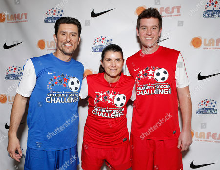 Normar Garciaparra, Mia Hamm and Ben Lyons attend the LAFEST LA Film and Entertainment Soccer Tournament, on in Carson, California