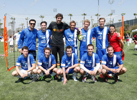 Nomar Garciaparra (top left) Team Sony Classics and Mia Hamm (in red) attend the LAFEST LA Film and Entertainment Soccer Tournament, on in Carson, California