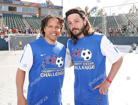 Soccer Player Cobi Jones and Diego Luna attend the LAFEST LA Film and Entertainment Soccer Tournament, on in Carson, California