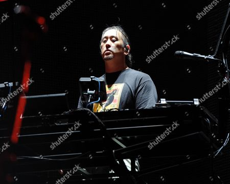 Joe Hahn of Linkin Park performs on opening night of the Carnivore Tour at the Cruzan Amphitheater on in West Palm Beach, Florida