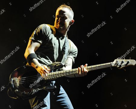 Dave Farrell of Linkin Park performs on opening night of the Carnivore Tour at the Cruzan Amphitheater on in West Palm Beach, Florida
