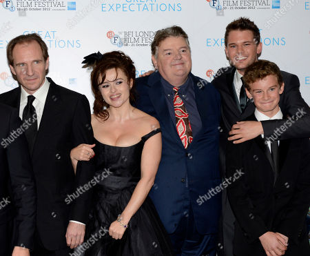 Ralph Fiennes, Helena Bonham Carter, Robbie Coltraine, Jeremy Irvine, Toby Irvine pose at London Film Festival Awards 2012 Closing Night Gala - Great Expectations at Odeon Leicester Square on in London