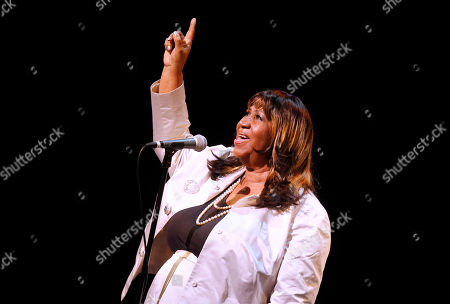 Aretha Franklin performs during A Tribute to Marvin Hamlisch, a memorial concert, at The Juilliard School's Peter Jay Sharp Theater, in New York