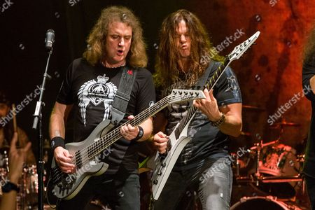 David Ellefson, of Megadeth, and Chris Broderick, of Megadeth, perform on stage during the Metal Allegiance concert at the House of Blues, in Anaheim, Calif