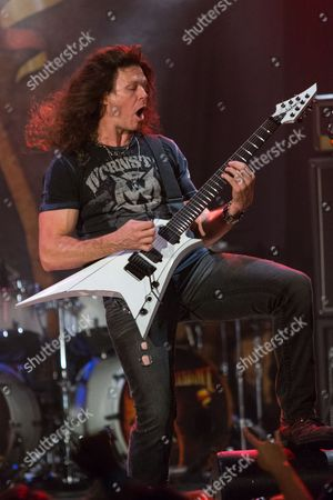 Chris Broderick, of Megadeth, performs on stage during the Metal Allegiance concert at the House of Blues, in Anaheim, Calif