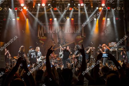 Mike Portnoy, of Dream Theater, David Ellefson, of Megadeth, Steve Souza, of Exodus, Mark Osegueda, of Death Angel, Andreas Kisser, of Sepultura, Alex Skolnick, of Testament, Chuck Billy, of Testament, and Chris Broderick, of Megadeth perform on stage during the Metal Allegiance concert at the House of Blues, in Anaheim, Calif