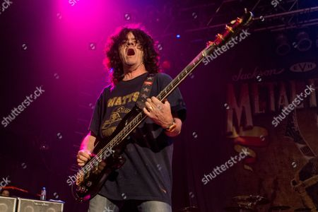 Stock Image of Jimmy Bain, of Dio, performs on stage during the Metal Allegiance concert at the House of Blues, in Anaheim, Calif