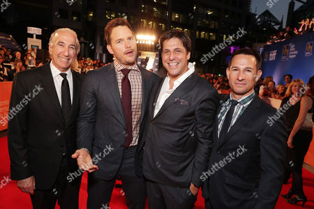 """Gary Barber, MGM Chairman and Chief Executive Officer, Chris Pratt, Jonathan Glickman, President for Motion Picture Group, and Adam Rosenberg, MGM Executive Vice President of Production, seen at MGM and Columbia Pictures' world premiere and opening night screening of """"The Magnificent Seven"""" at the 2016 Toronto International Film Festival, in Toronto, CAN"""