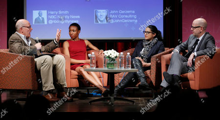 Harry Smith, from left, Tiffany Dufu, Reshma Saujani, and John Gerzerma participate in a discussion panel at the Mom+Social Event at 92YTribeca, in New York