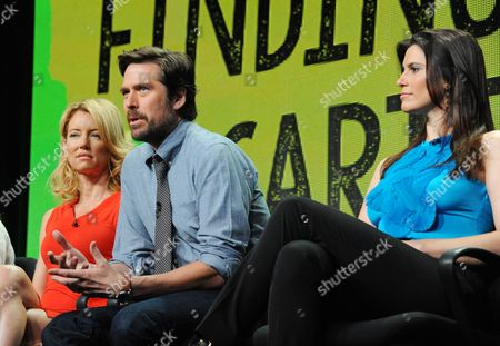 """Cynthia Watros, and from left, Alexis Denisof and Milena Govich attend the MTV 2014 Summer TCA - """"Finding Carter"""" at the Beverly Hilton Hotel, in Beverly Hills, Calif"""