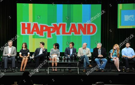 """Creator Ben Epstein, and from left, Camille Guaty, Shane Harper, Bianca A. Santos, Cameron Moulene, executive producers Neil Meron and Craig Zadan, Katherine McNamara and Ryan Rottman attend the MTV 2014 Summer TCA - """"Happyland"""" at the Beverly Hilton Hotel, in Beverly Hills, Calif"""