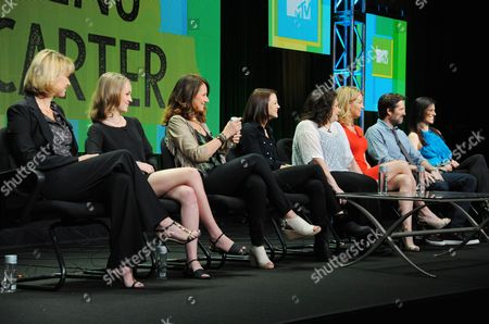"""Stock Image of Executive producer Deborah Spera, Anna Jacoby-Heron, executive producer Maria Grasso, Kathryn Prescott, executive producer Terri Minsky, Cynthia Watros, Alexis Denisof and Milena Govich attend the MTV 2014 Summer TCA - """"Finding Carter"""" at the Beverly Hilton Hotel, in Beverly Hills, Calif"""