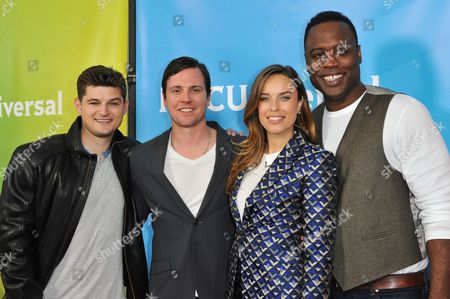 From left, Kevin Bigley, Michael Mosley, Jessica McNamee, and Kevin Daniels seen at the NBC/Universal Winter 2014 TCA on in Pasadena, Calif