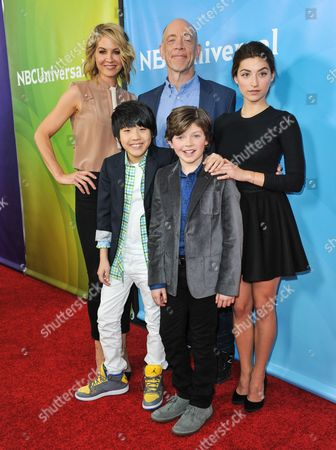 From left, Jenna Elfman, Lance Lim, J.K. Simmons, Eli Baker, and Ava Deluca-Verley, seen at the NBC/Universal Winter 2014 TCA on in Pasadena, Calif