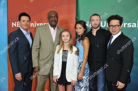 From left, Kyle MacLachlan, Delroy Lindo, Johnny Sequoyah, Jamie Chung, Jake McLaughlin, and J. J. Abrams seen at the NBC/Universal Winter 2014 TCA on in Pasadena, Calif