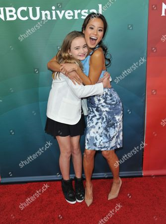 Johnny Sequoyah, left, and Jamie Chung seen at the NBC/Universal Winter 2014 TCA on in Pasadena, Calif