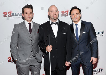 "Stock Photo of Actor Mark Hapka, left, the real life inspiration for the film, Travis Freeman and actor Bram Hoover attend the premiere of ""23Blast"" at the Regal Cinemas E-Walk Theater on in New York"