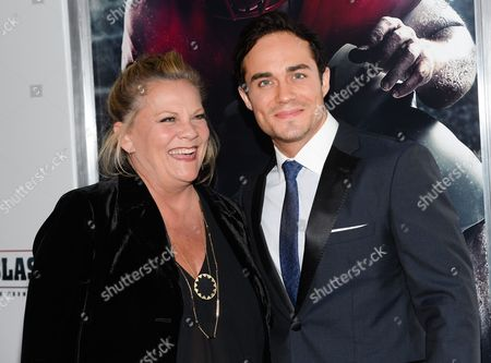 "Actors Kim Zimmer and Bram Hoover attend the premiere of ""23Blast"" at the Regal Cinemas E-Walk Theater on in New York"