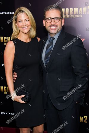 """Steve Carell and Nancy Walls attend the """"Anchorman 2: The Legend Continues"""" premiere on in New York"""