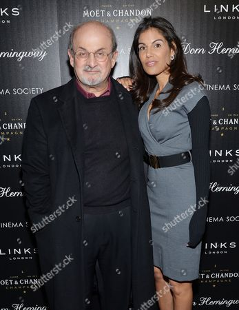 """Author Salman Rushdie and girlfriend Missy Brody attend a special screening of Fox Searchlight Pictures' """"Dom Hemingway"""" hosted by The Cinema Society with Links of London at the Landmark Sunshine Cinema on in New York"""