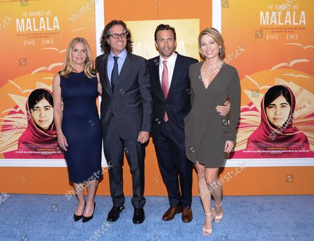 """Stock Picture of Elizabeth Shue and husband, director Davis Guggenheim, left, Andrew Shue and wife Amy Robach attend the premiere of """"He Named Me Malala"""" at The Ziegfeld Theatre, in New York"""