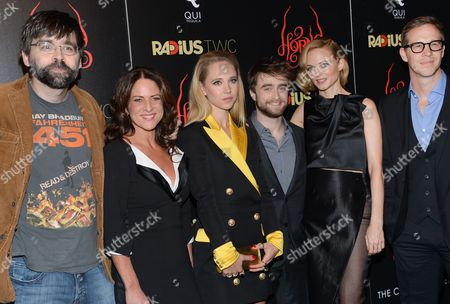 "Writer Joe Hill, left, producer Cathy Schulman, Juno Temple, Daniel Radcliffe, Heather Graham and producer Joey McFarland attend the premiere of ""Horns"" at The Landmark Sunshine Theater on in New York"