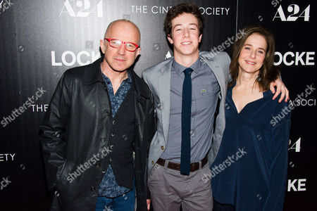 """Arliss Howard, left, Gideon Babe Ruth Howard and Debra Winger attends the premiere of """"Locke"""" hosted by A24 and The Cinema Society on in New York"""