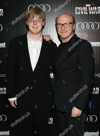 """Stock Picture of Paul Haggis and son James Haggis attend a special screening of """"Captain America: Civil War"""", hosted by The Cinema Society and Audi, at Brookfield Place, Henry R. Luce Auditorium, in New York"""