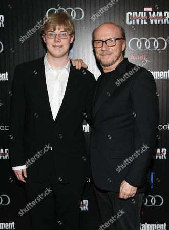 """Paul Haggis and son James Haggis attend a special screening of """"Captain America: Civil War"""", hosted by The Cinema Society and Audi, at Brookfield Place, Henry R. Luce Auditorium, in New York"""