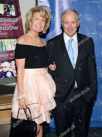 "Christine Schwarzman and Stephen Schwarzman attend a special screening of ""Rear Window"", hosted by The Princess Grace Foundation, at The Academy Theater, in New York"