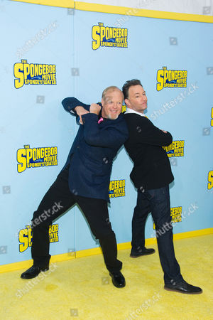 """Bill Fagerbakke, left, and Tom Kenny attend the world premiere of """"The Spongebob Movie: Sponge Out Of Water"""" at AMC Lincoln Square, in New York"""