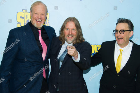 """Bill Fagerbakke, Paul Tibbitt and Tom Kenny attend the world premiere of """"The Spongebob Movie: Sponge Out Of Water"""" at AMC Lincoln Square, in New York"""
