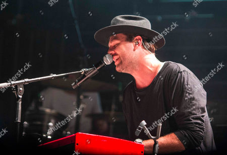 Stock Image of Joel Houston with Hillsong UNITED performs during the Outcry Tour 2015 at Verizon Wireless Amphitheatre, in Atlanta