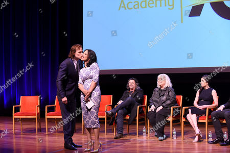 """Stock Photo of From left, Sam Heughan, Michelle Miller, Ron D. Moore, Terry Dresbach, and Marli Davis seen onstage at the Television Academy's member event, Starz' """"Outlander: From Scotland to Paris,"""" at NYU Skirball Center for the Performing Arts on in New York"""