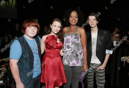 """AUGUST 05: (L-R) Tucker Albrizzi, Jodelle Ferland, Tempesst Bledsoe and Kodi Smit-McPhee attend the pre-party to the world premiere of """"Paranorman"""" at the Globe Theater on in Universal City, Calif"""