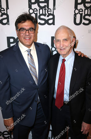 John Kiriakou and Daniel Ellsberg attend the PEN Center USA's 25th Annual Literacy Awards Festival at the Beverly Wilshire Hotel, in Beverly Hills, Calif