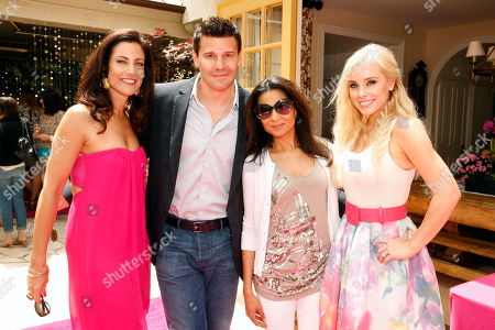 Tracy Brennan, David Boreanaz, Anjula Acharia-Bath and Jaime Boreanaz attends the Polish Play and emPower Chrome Girl Nail Lacquer Debut on in Los Angeles