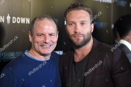 "Director Dito Montiel, left, and Jai Courtney arrive at the Los Angeles premiere of ""Man Down"" at ArcLight Cinemas Hollywood on"