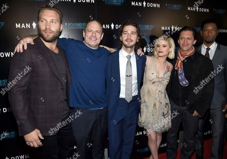 "Jai Courtney, from left, director Dito Montiel, Shia LaBeouf, Kate Mara, Clifton Collins Jr. and Tory Kittles arrive at the Los Angeles premiere of ""Man Down"" at ArcLight Cinemas Hollywood on"
