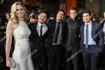 "Virginia Gardner, Allen Evangelista, director Dean Israelite, Jonny Weston and Sam Lerner attend The Los Angeles Premiere of ""Project Almanac"" at the TCL Chinese Theatre, in Los Angeles"