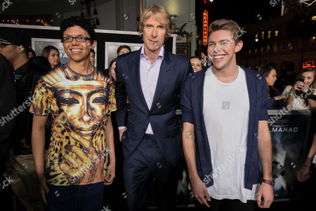 "Tay Zonday, left, Michael Bay and Jonah Green attend The Los Angeles Premiere of ""Project Almanac"" at the TCL Chinese Theatre, in Los Angeles"
