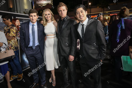 "Sam Lerner, from left, Virginia Gardner, Jonny Weston and Allen Evangelista attend the Los Angeles premiere of ""Project Almanac"" at the TCL Chinese Theatre on"