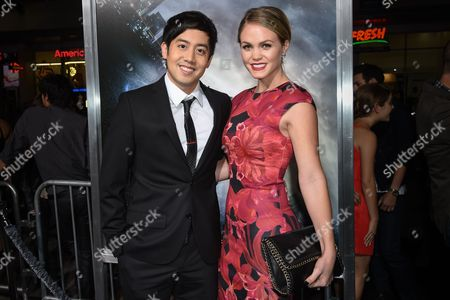 "Allen Evangelista, left, and wife Christina Burhoe attend The Los Angeles Premiere of ""Project Almanac"" at the TCL Chinese Theatre, in Los Angeles"
