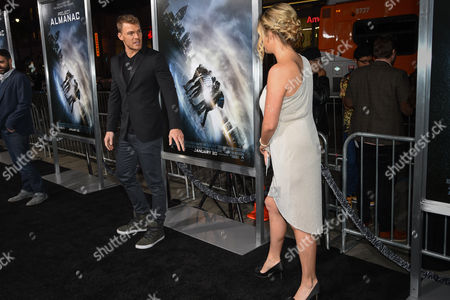 """Stock Picture of Alan Ritchson, left and Catherine Ritchson attend The Los Angeles Premiere of """"Project Almanac"""" at the TCL Chinese Theatre, in Los Angeles"""