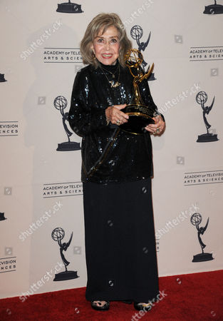 June Foray poses backstage with the Govenors award at the Primetime Creative Arts Emmy Awards at the Nokia Theatre L.A. Live, in Los Angeles