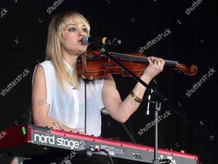 Anna Bulbrook of the rock band The Airborne Toxic Event performs on stage during the Radio 104.5 Birthday concert at the Susquehanna Bank Center, in Camden, N.J